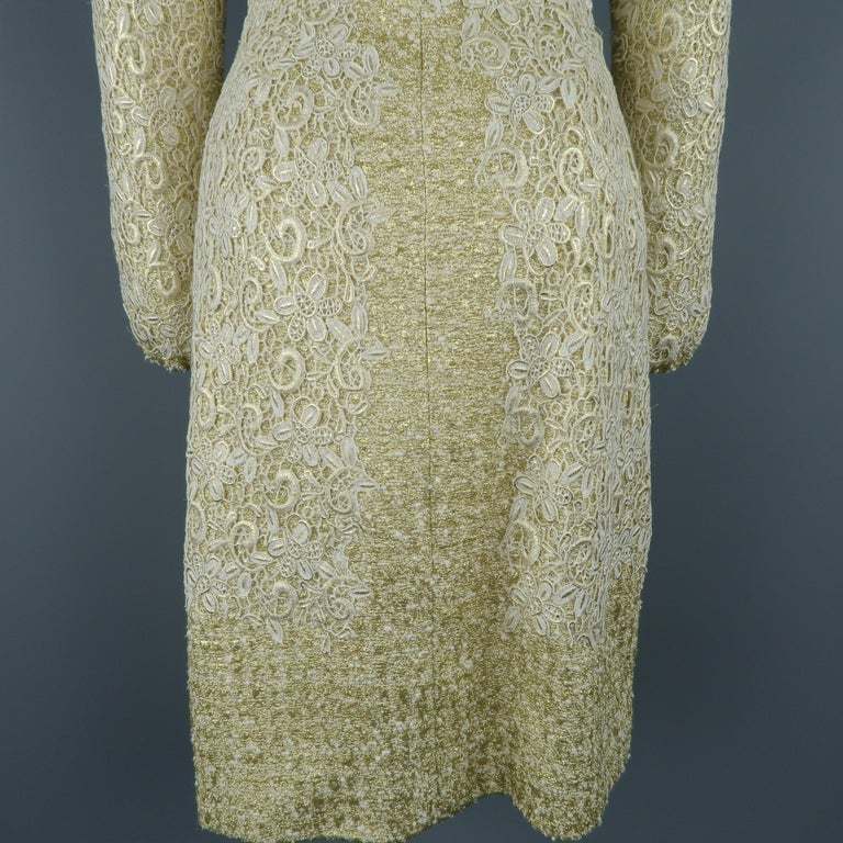 GIAMBATTISTA VALLI Metallic Gold Cotton / Silk Lace Overlay Cocktail Coat-Dress For Sale 5