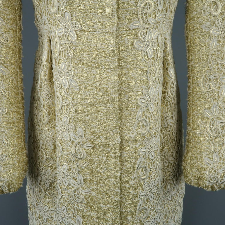 Women's GIAMBATTISTA VALLI Metallic Gold Cotton / Silk Lace Overlay Cocktail Coat-Dress For Sale