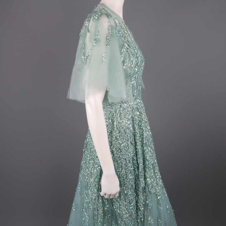 72d569ecea01 Elie Saab New Sea Foam Silk Beaded Floral Sequin Tulle Dress Gown For Sale 5