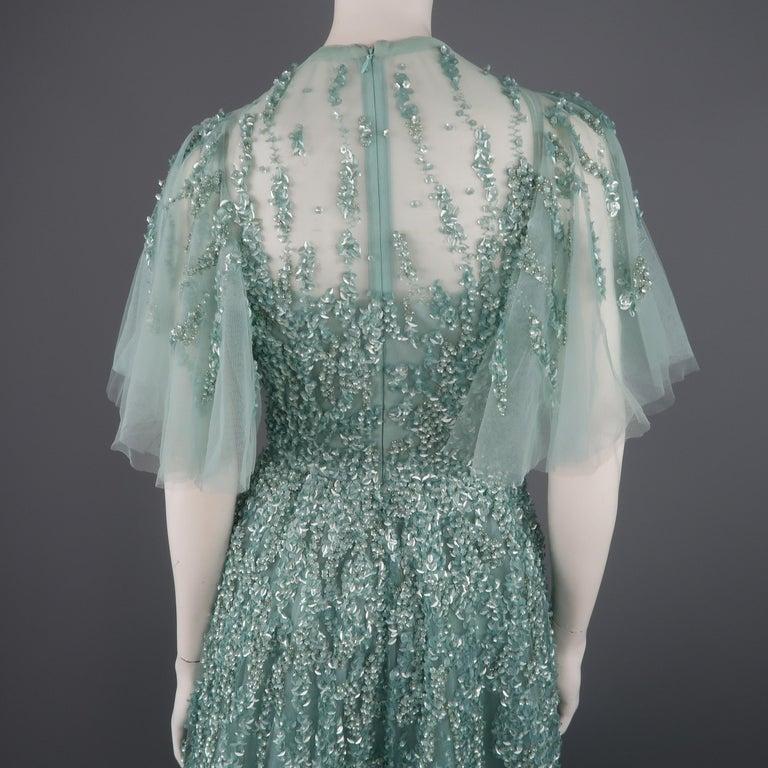 1101b80e87ba Elie Saab New Sea Foam Silk Beaded Floral Sequin Tulle Dress Gown For Sale 8