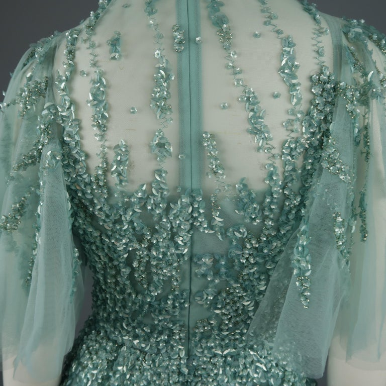 793d1fb04617 Elie Saab New Sea Foam Silk Beaded Floral Sequin Tulle Dress Gown For Sale 9