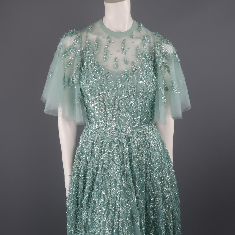 c89cb7e4fa2d This gorgeous Elie Saab evening gown comes in layered sea foam teal green  silk tulle with
