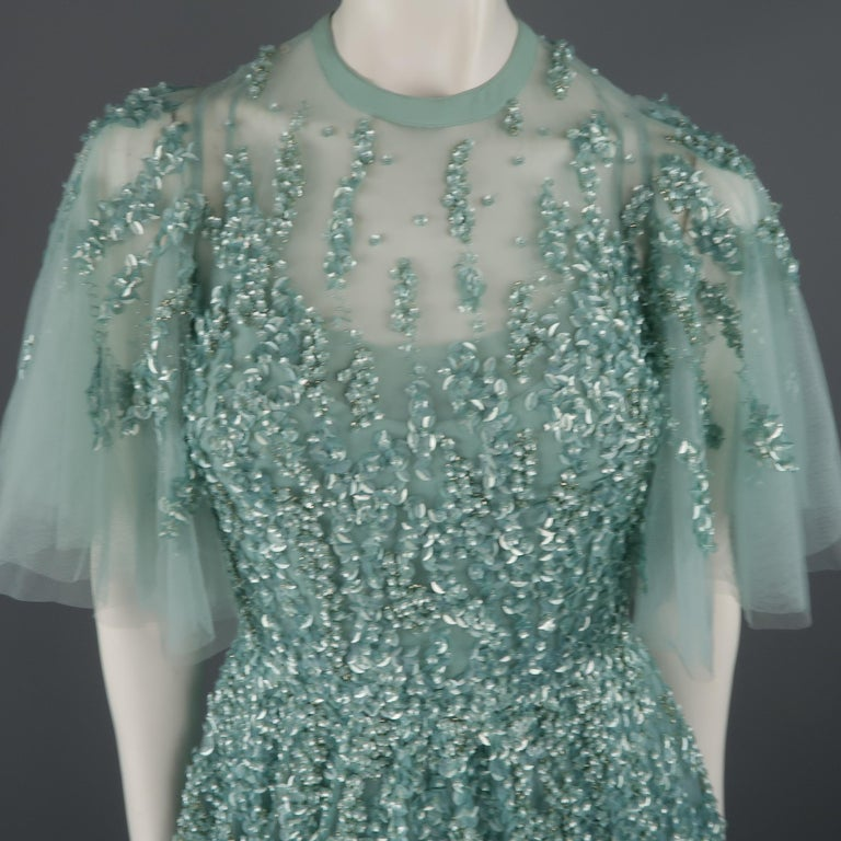 c79276e544b6 This gorgeous Elie Saab evening gown comes in layered sea foam teal green  silk tulle with. Gray Elie Saab New Sea Foam Silk Beaded Floral Sequin Tulle  Dress ...