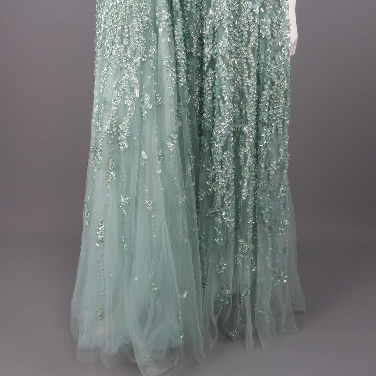c0baf08de022 Elie Saab New Sea Foam Silk Beaded Floral Sequin Tulle Dress Gown For Sale 3
