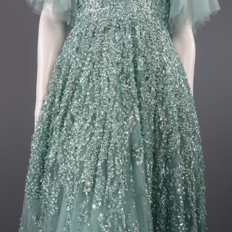 3d3d2e636ee3 Elie Saab New Sea Foam Silk Beaded Floral Sequin Tulle Dress Gown For Sale 2