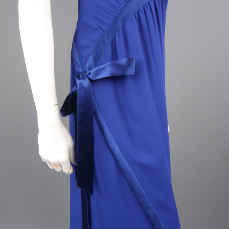 Valentino Royal Blue Strapless Bustier Gown w/ Beaded Bolero / Dress For Sale 2