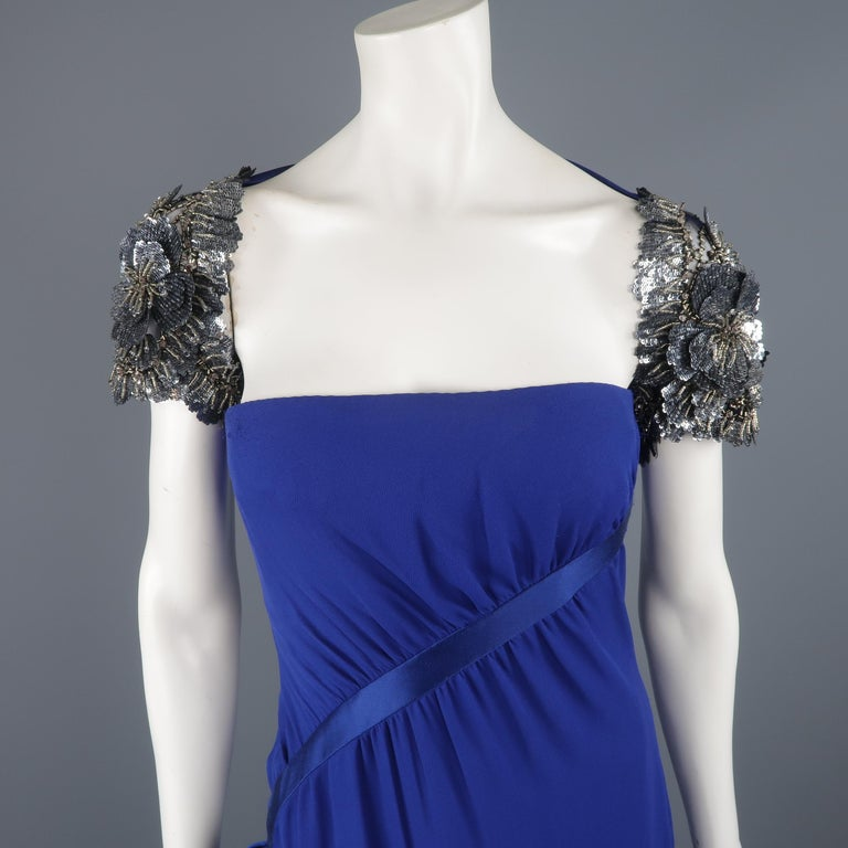 Valentino Royal Blue Strapless Bustier Gown w/ Beaded Bolero / Dress For Sale 5