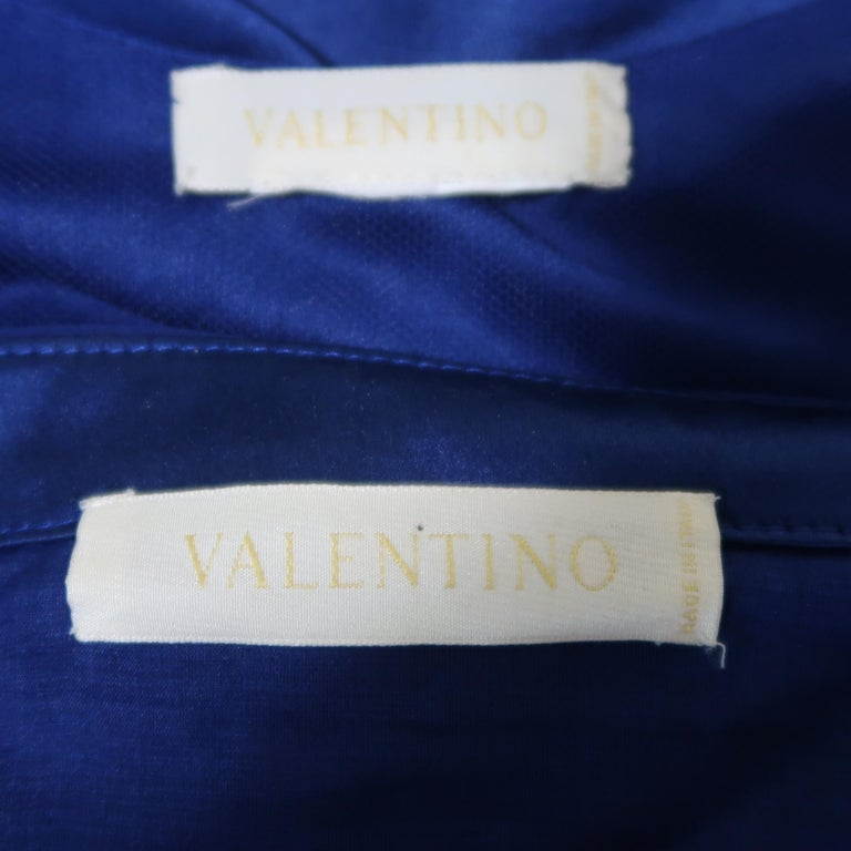 Valentino Royal Blue Strapless Bustier Gown w/ Beaded Bolero / Dress For Sale 14