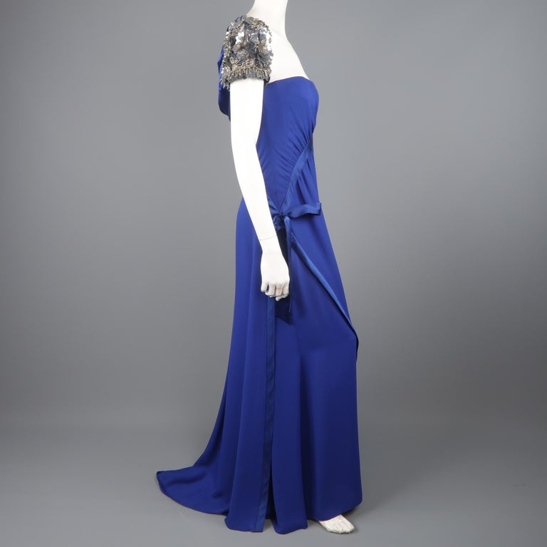 Valentino Royal Blue Strapless Bustier Gown w/ Beaded Bolero / Dress For Sale 7