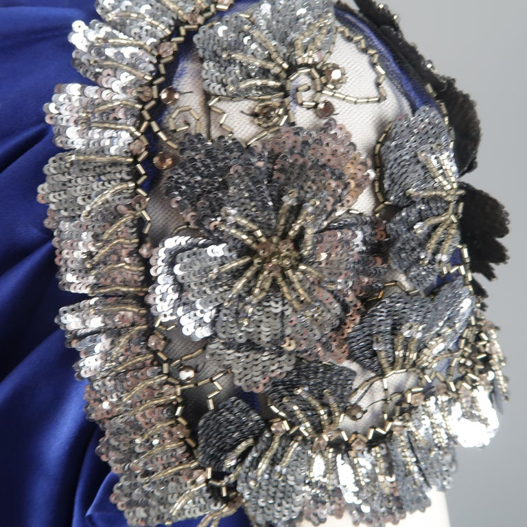 Valentino Royal Blue Strapless Bustier Gown w/ Beaded Bolero / Dress For Sale 10