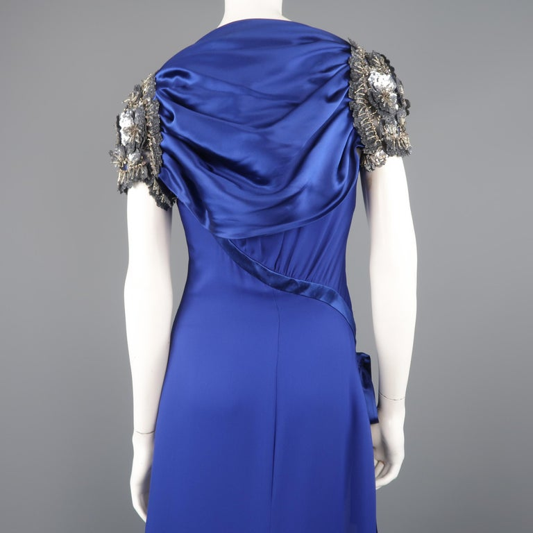 Valentino Royal Blue Strapless Bustier Gown w/ Beaded Bolero / Dress For Sale 12