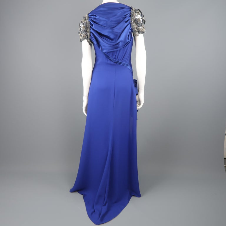 Valentino Royal Blue Strapless Bustier Gown w/ Beaded Bolero / Dress For Sale 11