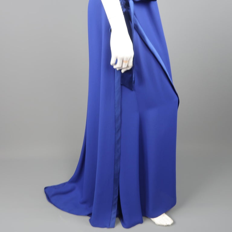 Valentino Royal Blue Strapless Bustier Gown w/ Beaded Bolero / Dress For Sale 8