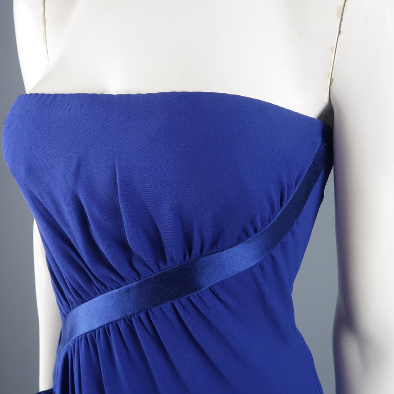 Valentino Royal Blue Strapless Bustier Gown w/ Beaded Bolero / Dress For Sale 3