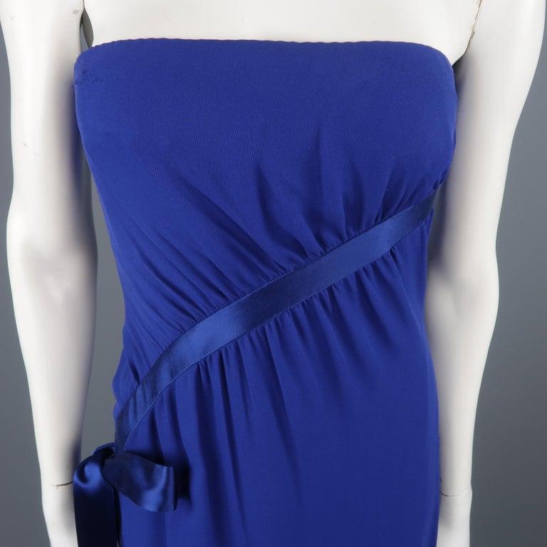 Women's Valentino Royal Blue Strapless Bustier Gown w/ Beaded Bolero / Dress For Sale