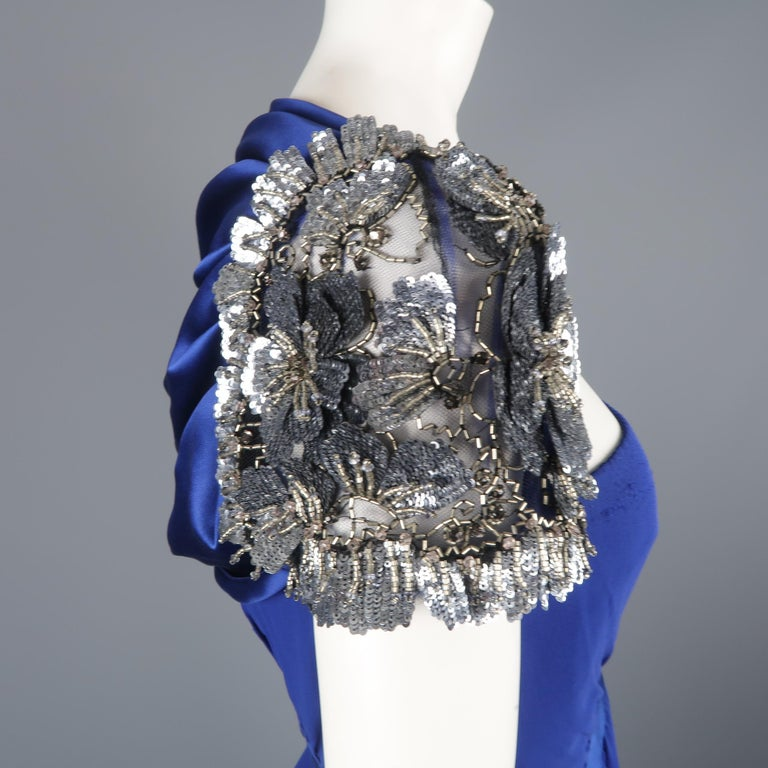 Valentino Royal Blue Strapless Bustier Gown w/ Beaded Bolero / Dress For Sale 6