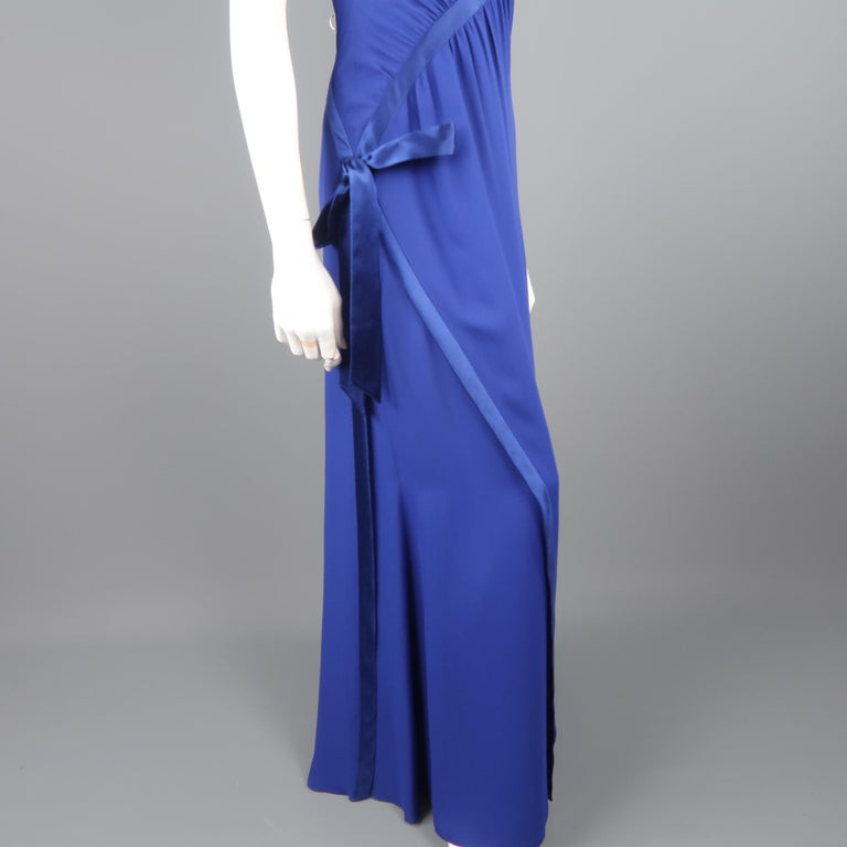 Valentino Royal Blue Strapless Bustier Gown w/ Beaded Bolero / Dress For Sale 4