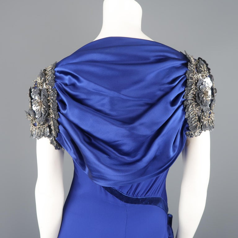 Valentino Royal Blue Strapless Bustier Gown w/ Beaded Bolero / Dress For Sale 9