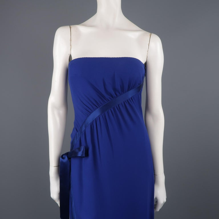 Valentino Royal Blue Strapless Bustier Gown w/ Beaded Bolero / Dress In Fair Condition For Sale In San Francisco, CA