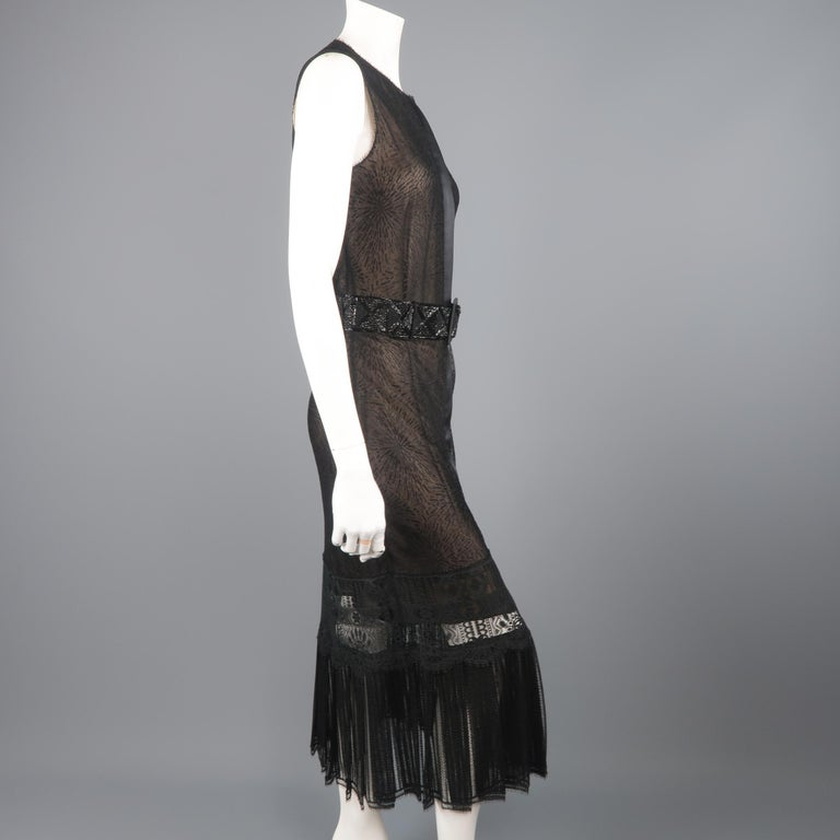 Richard Tyler Dress - Black Lace Ruffled Skirt Sleeveless Beaded Belt For Sale 4