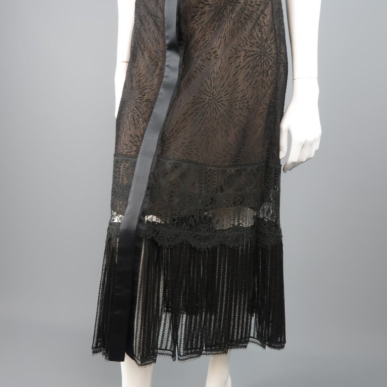 Richard Tyler Dress - Black Lace Ruffled Skirt Sleeveless Beaded Belt For Sale 2