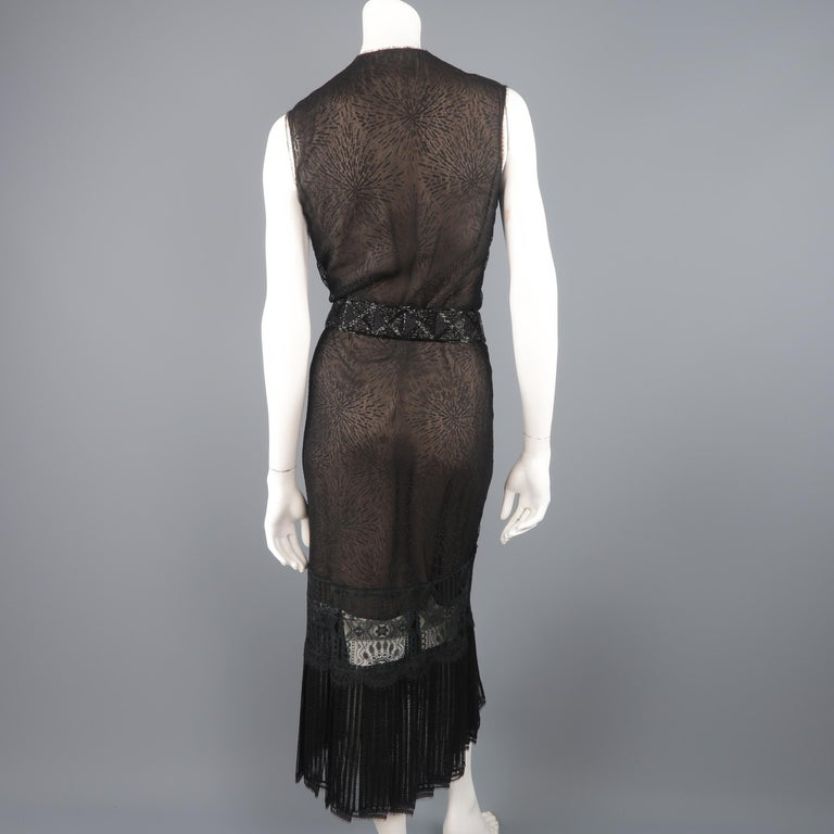 Richard Tyler Dress - Black Lace Ruffled Skirt Sleeveless Beaded Belt For Sale 5