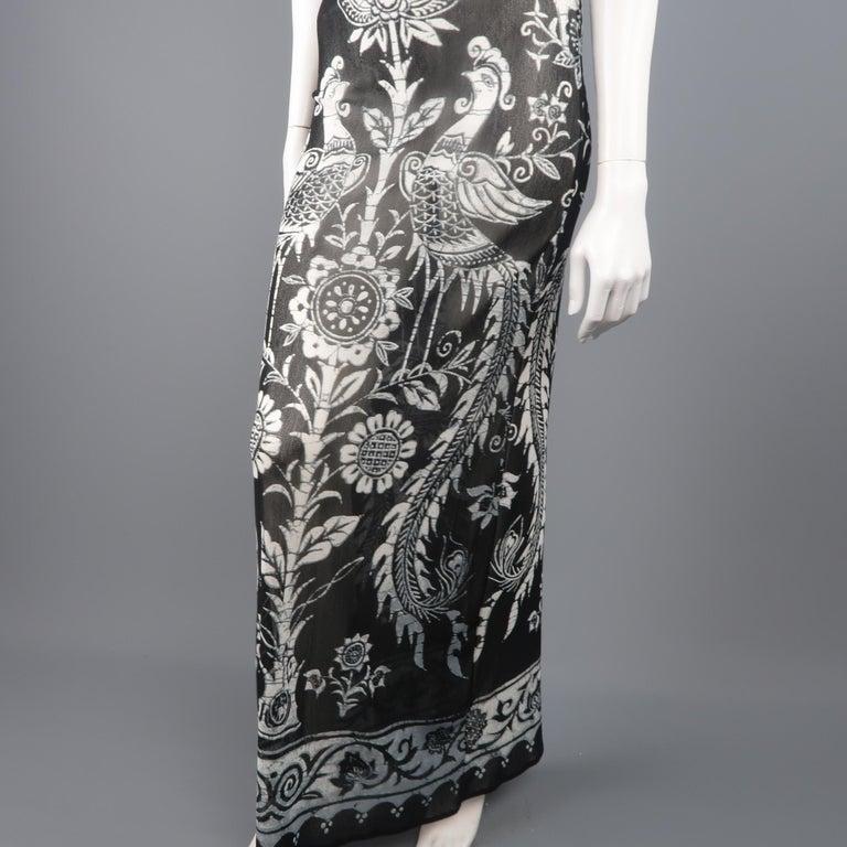 964468637 VIVIENNE TAM Size 2 Black & White Tapestry Print Micro Mesh Shift Maxi  Dress For Sale