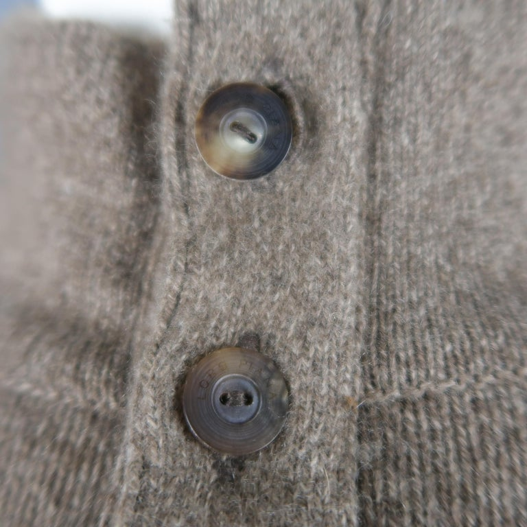 LORO PIANA Size L Brown Heather Cashmere Button Mock Neck Sweater In Excellent Condition For Sale In San Francisco, CA