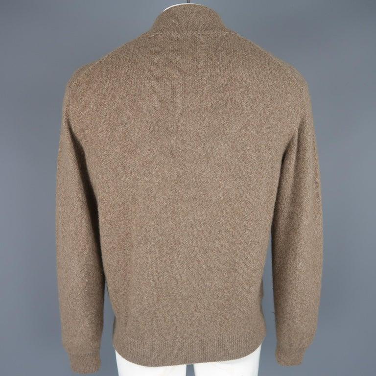 Men's LORO PIANA Size L Brown Heather Cashmere Button Mock Neck Sweater For Sale