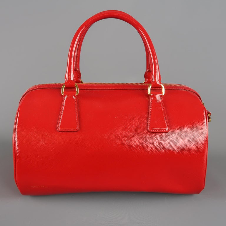 d7759511de87 Prada Red Patent Saffiano Leather Gold Hardware Bowler Handbag At