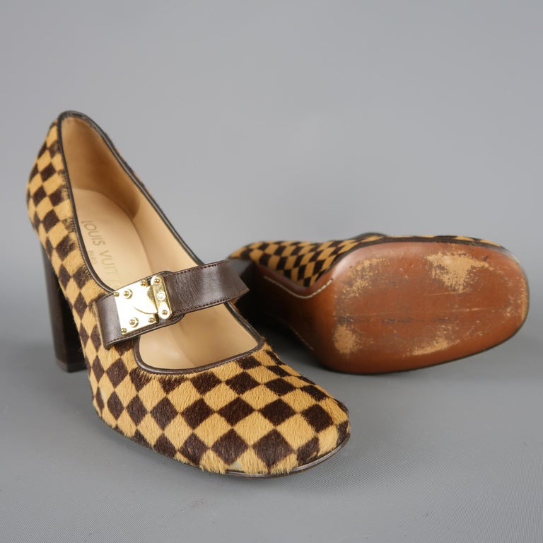 Black Louis Vuitton Beige Brown Checkered Pony Hair Gold Buckle Mary Jane Pumps