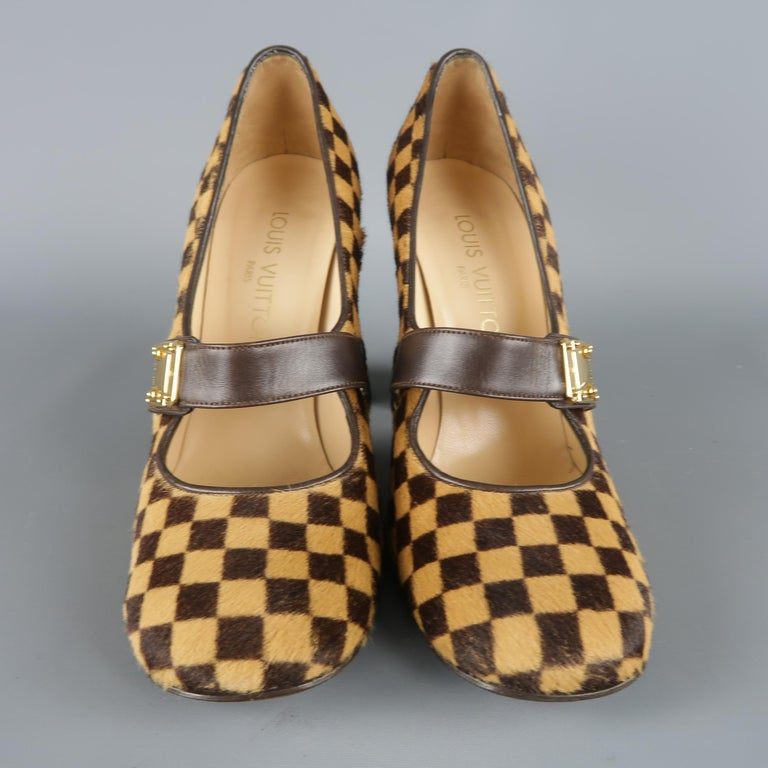 Louis Vuitton Beige Brown Checkered Pony Hair Gold Buckle Mary Jane Pumps In Good Condition In San Francisco, CA