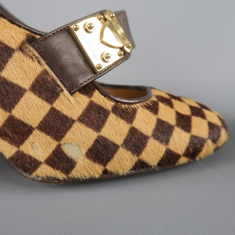 Women's Louis Vuitton Beige Brown Checkered Pony Hair Gold Buckle Mary Jane Pumps