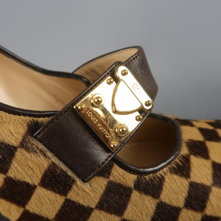 Louis Vuitton Beige Brown Checkered Pony Hair Gold Buckle Mary Jane Pumps 1