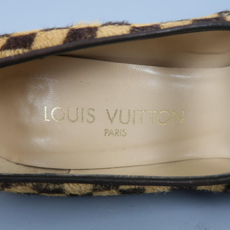 Louis Vuitton Beige Brown Checkered Pony Hair Gold Buckle Mary Jane Pumps 2