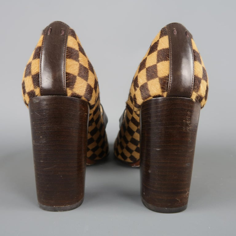 Louis Vuitton Beige Brown Checkered Pony Hair Gold Buckle Mary Jane Pumps 3