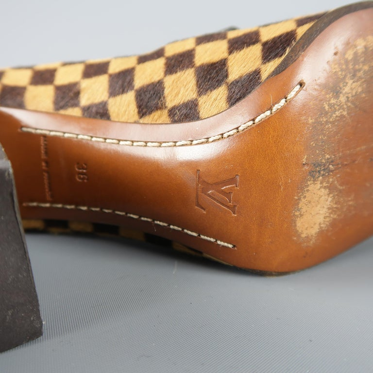Louis Vuitton Beige Brown Checkered Pony Hair Gold Buckle Mary Jane Pumps 4