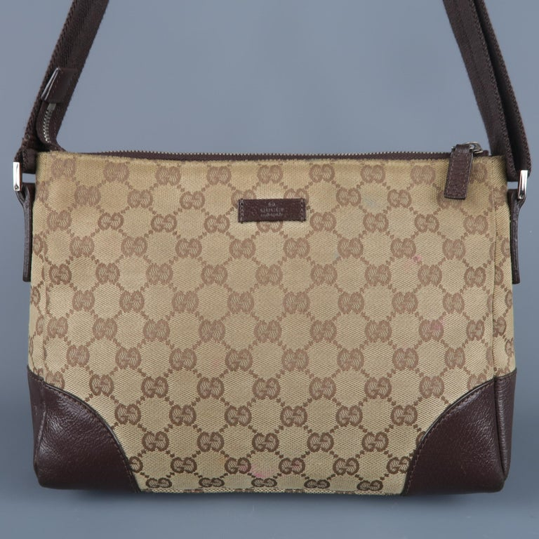 71046b5f5d2e6 Vintage GUCCI Tan Guccissima Monogram Canvas Cross Body Handbag