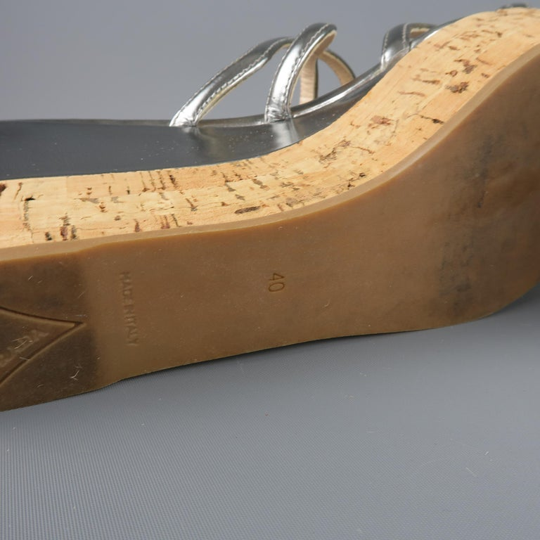 01432d13cad9 PRADA Size 10 Metallic Silver Leather Cork Wedge Platform Sandals For Sale 2