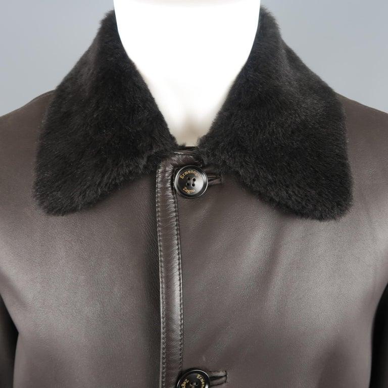 3a7ace58 ERMENEGILDO ZEGNA Coat - US42 Dark Brown Solid Shearling Fur Collar Coat  Jacket