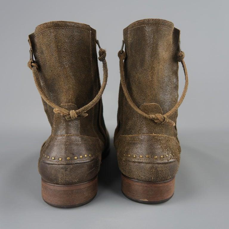 74db109af090 John Varvatos Brown Distressed Suede Zip Ankle Boots   Shoes at 1stdibs