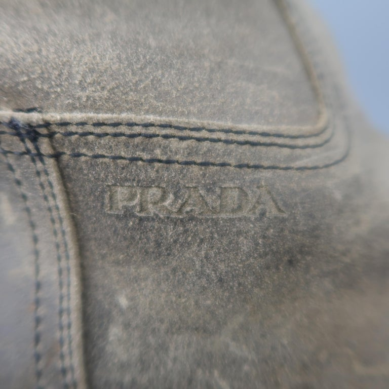 Prada Beige Distressed Suede Rubber Sole Calf Boot / Shoes For Sale 1