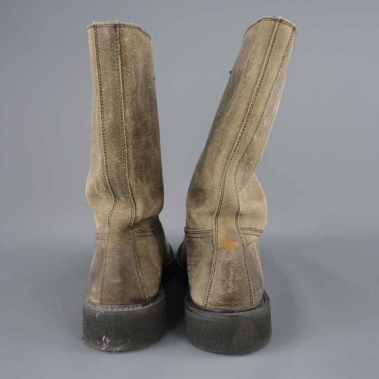 Prada Beige Distressed Suede Rubber Sole Calf Boot / Shoes For Sale 4