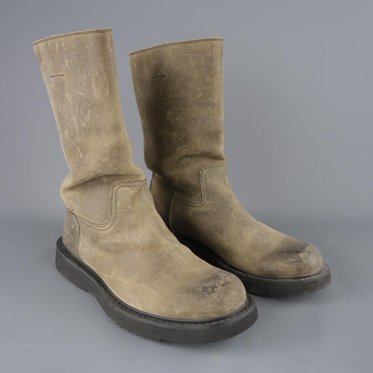 Prada Beige Distressed Suede Rubber Sole Calf Boot / Shoes In Good Condition For Sale In San Francisco, CA