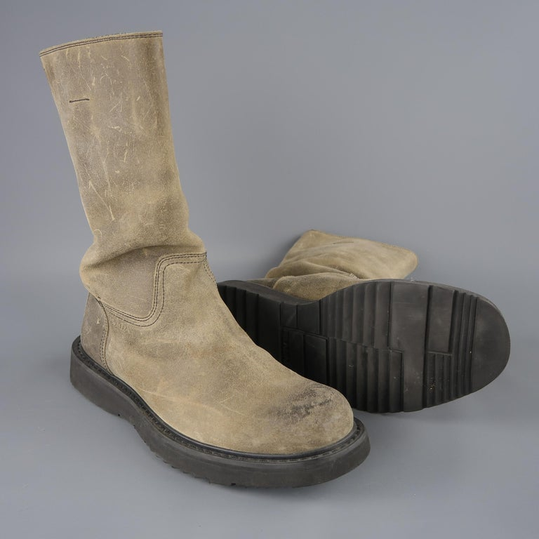 Men's Prada Beige Distressed Suede Rubber Sole Calf Boot / Shoes For Sale