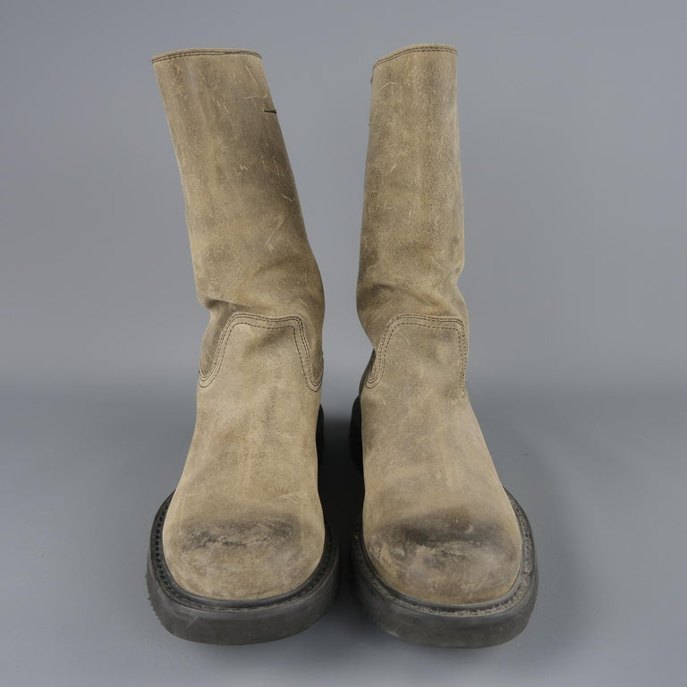 Prada Beige Distressed Suede Rubber Sole Calf Boot / Shoes For Sale 2