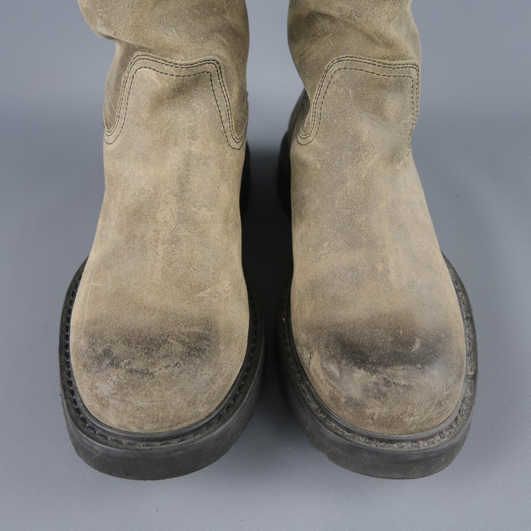 Prada Beige Distressed Suede Rubber Sole Calf Boot / Shoes For Sale 3