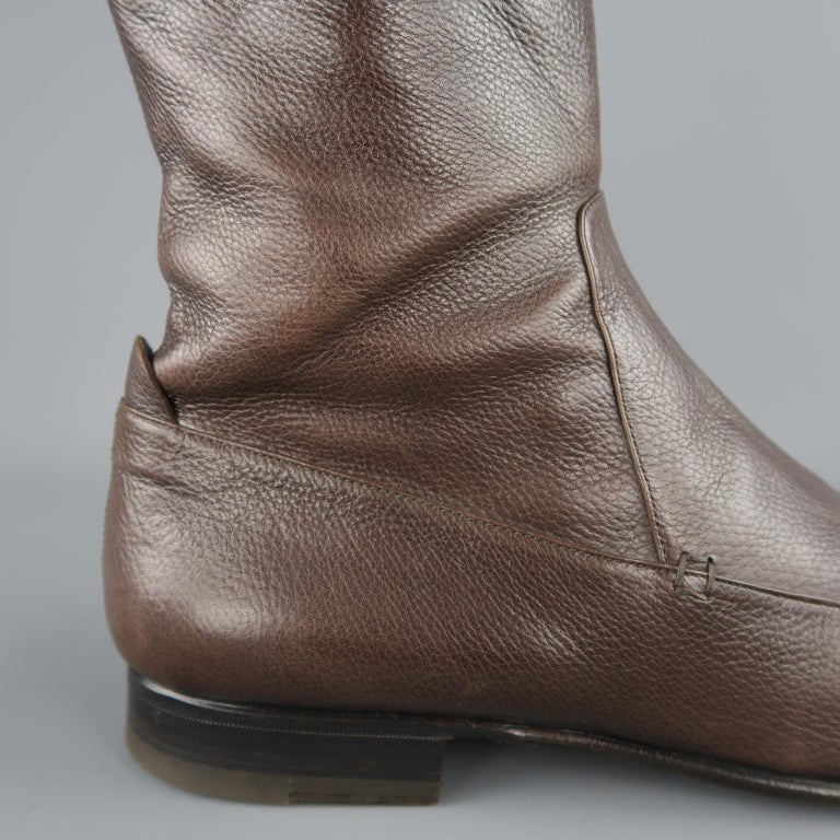 663d6335ecd Yves Saint Laurent Brown Leather Apron Toe Ankle Boots / Shoes In Good  Condition For Sale