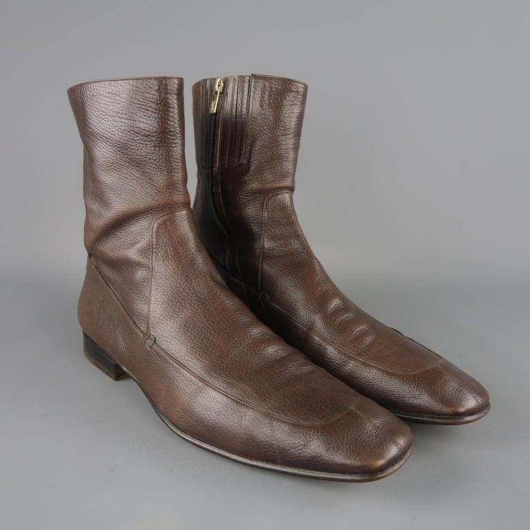 7343b274bab Men's Yves Saint Laurent Brown Leather Apron Toe Ankle Boots / Shoes For  Sale