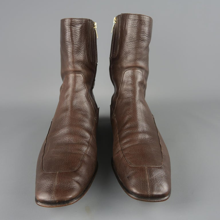 6a1c2d35408 Yves Saint Laurent ankle boots by Tom Ford come in brown textured leather  with squared point